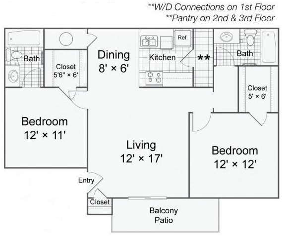 817 sq. ft. B1 floor plan
