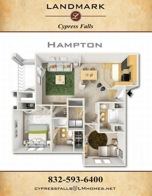 1,172 sq. ft. Hampton floor plan