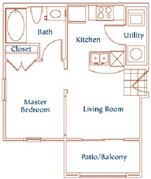 460 sq. ft. A2 floor plan