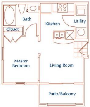 460 sq. ft. A1 floor plan