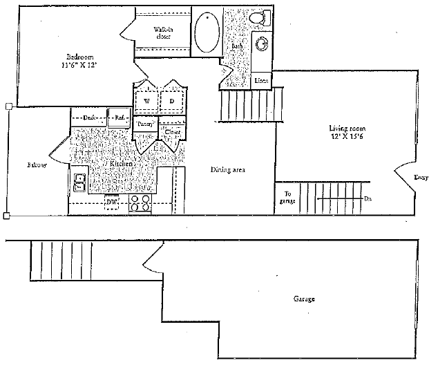 935 sq. ft. D floor plan