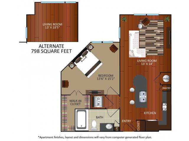 758 sq. ft. to 798 sq. ft. A2 floor plan
