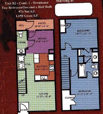 974 sq. ft. B2 30% floor plan