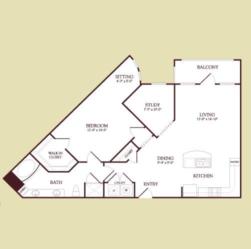 996 sq. ft. Seurat floor plan