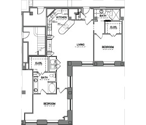 1,372 sq. ft. Unit 17W floor plan