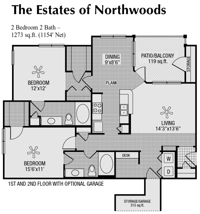 1,154 sq. ft. to 1,273 sq. ft. GAR floor plan