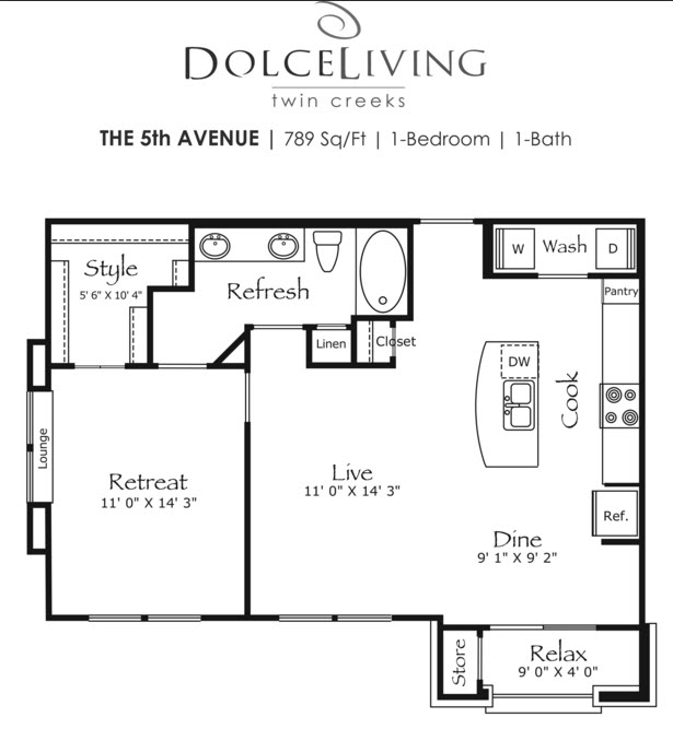 789 sq. ft. A3-5th Ave floor plan