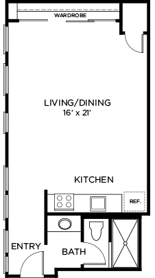 484 sq. ft. to 561 sq. ft. A2 floor plan