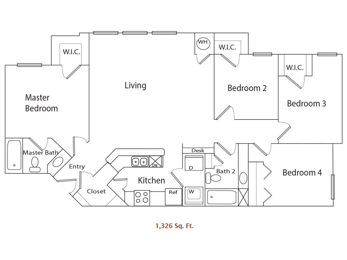 1,326 sq. ft. 60% floor plan