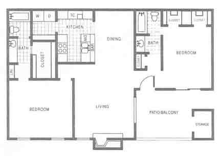 1,109 sq. ft. B2 floor plan