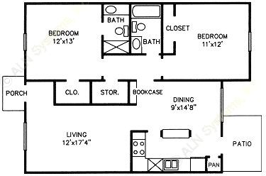 1,053 sq. ft. E floor plan