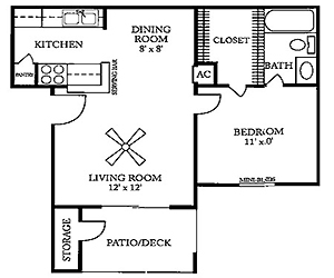 545 sq. ft. C floor plan