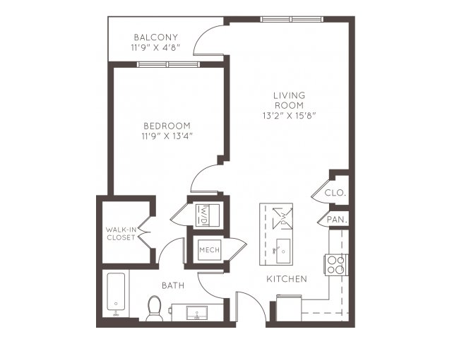 739 sq. ft. A2 floor plan