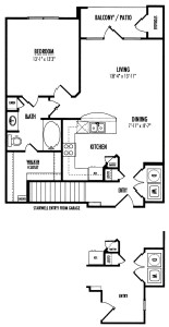 808 sq. ft. Carlisle floor plan