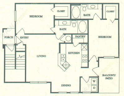 1,101 sq. ft. E floor plan