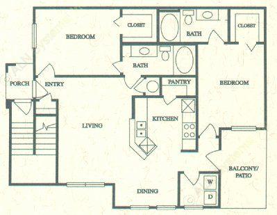 1,101 sq. ft. E floor plan