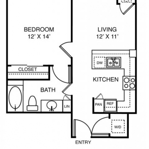 662 sq. ft. to 718 sq. ft. A1 floor plan