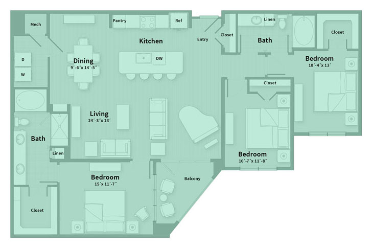 1,599 sq. ft. G floor plan