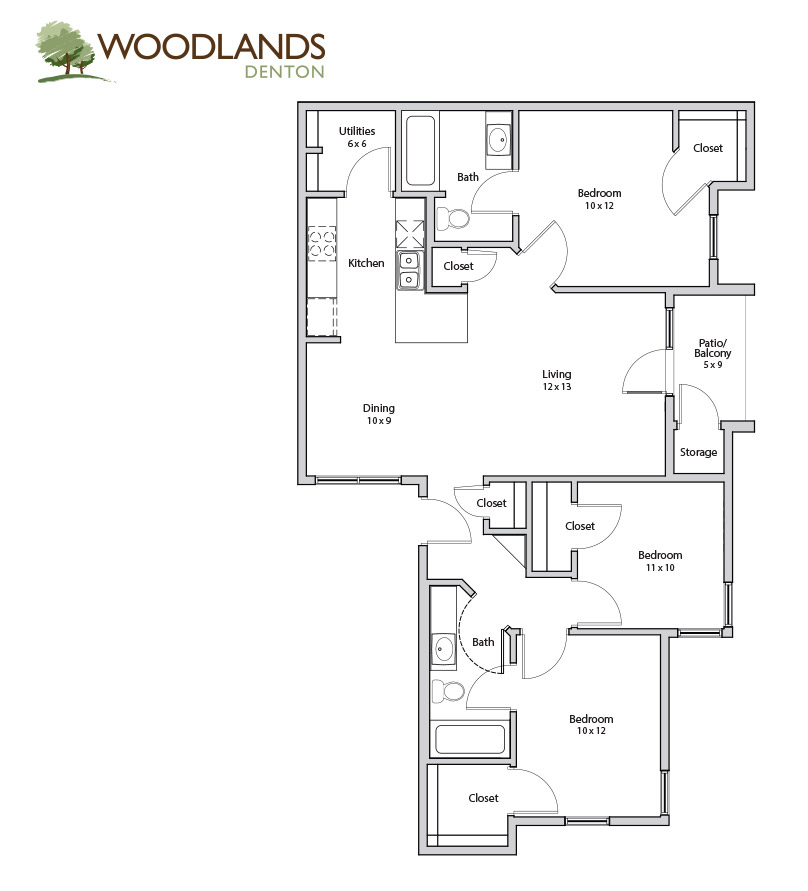 1,280 sq. ft. Oak floor plan