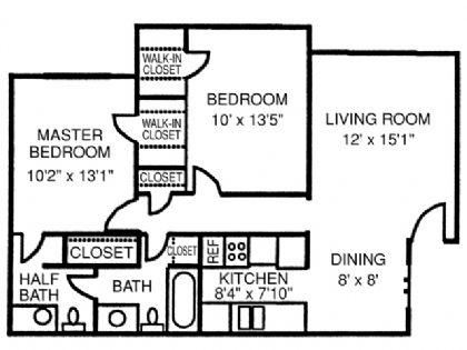 865 sq. ft. Villa floor plan