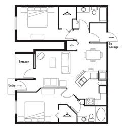 1,012 sq. ft. GAR 1 floor plan