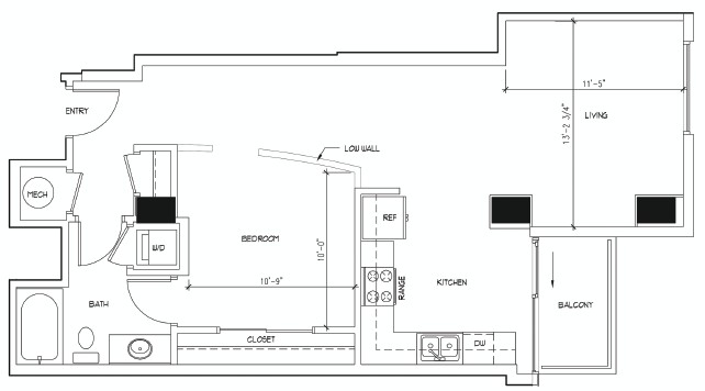 791 sq. ft. DALI floor plan