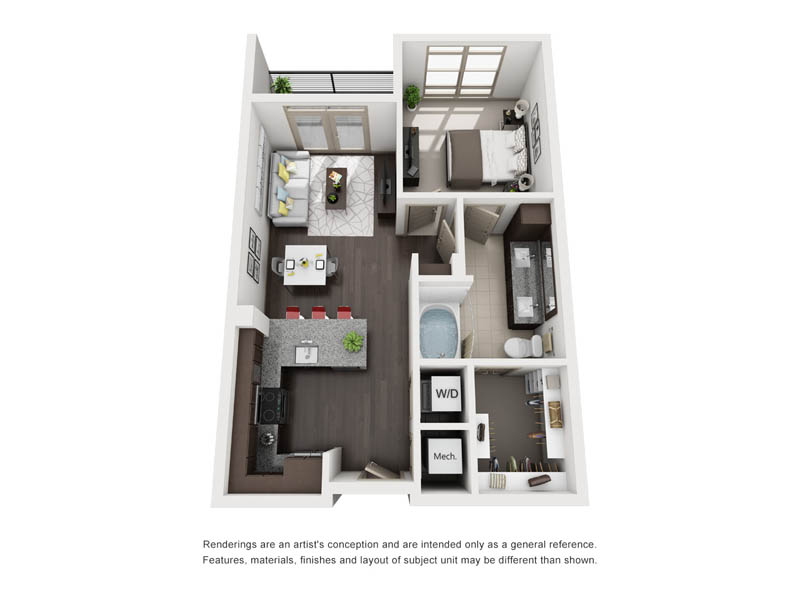 643 sq. ft. A23 floor plan