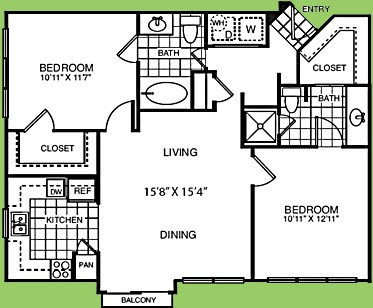 598 sq. ft. A1B floor plan