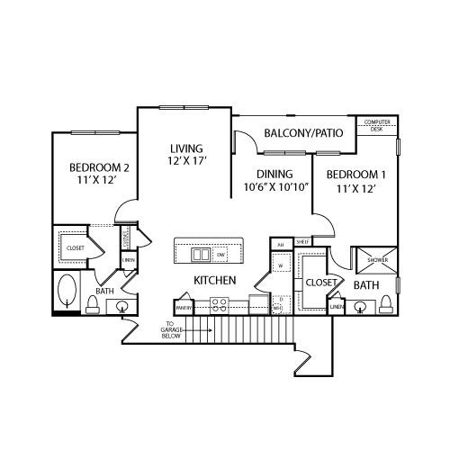1,293 sq. ft. B3B floor plan
