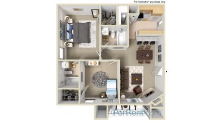 900 sq. ft. E floor plan