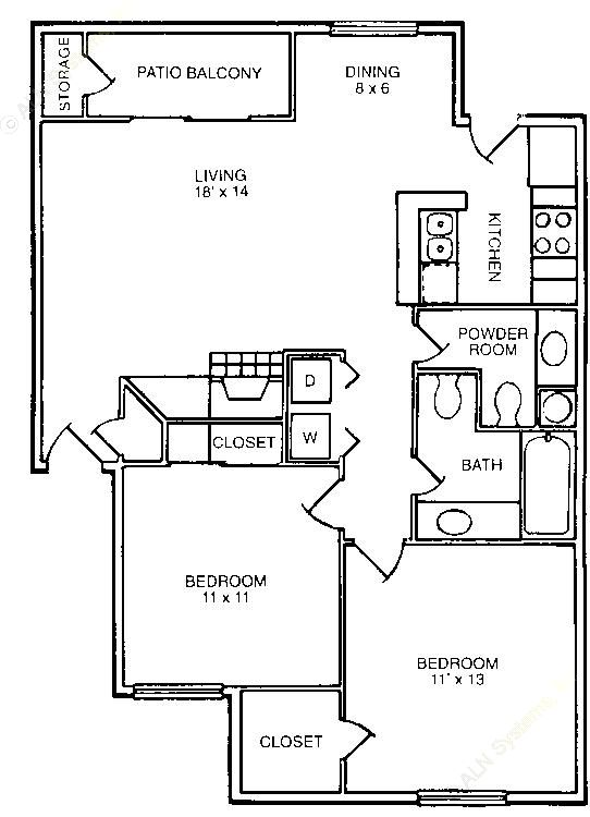 860 sq. ft. B1 floor plan