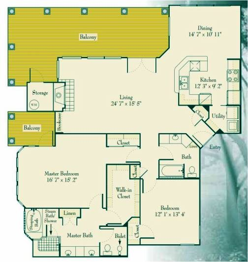 1,724 sq. ft. 2C floor plan