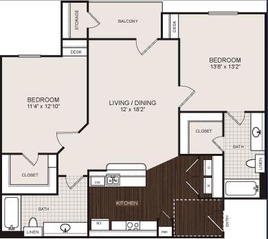 946 sq. ft. B1 floor plan