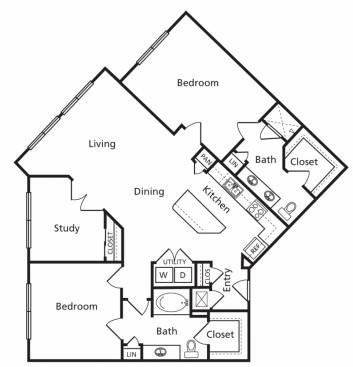1,381 sq. ft. F floor plan