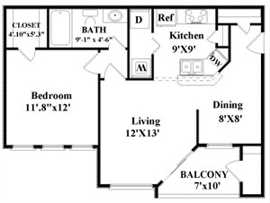 644 sq. ft. Armstrong floor plan