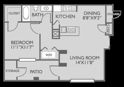 689 sq. ft. Ashcroft floor plan