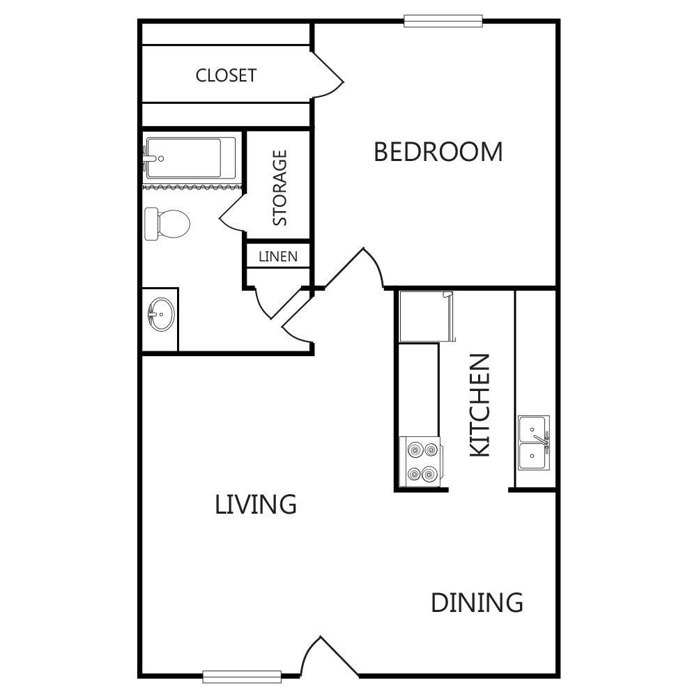 608 sq. ft. A1 ABP floor plan