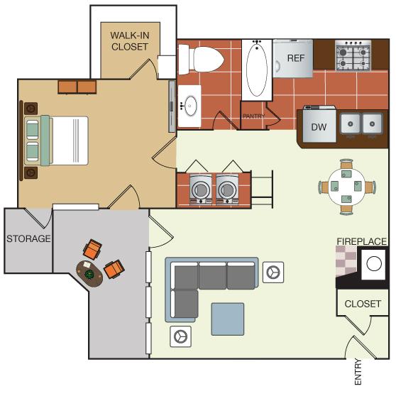 760 sq. ft. 1J floor plan