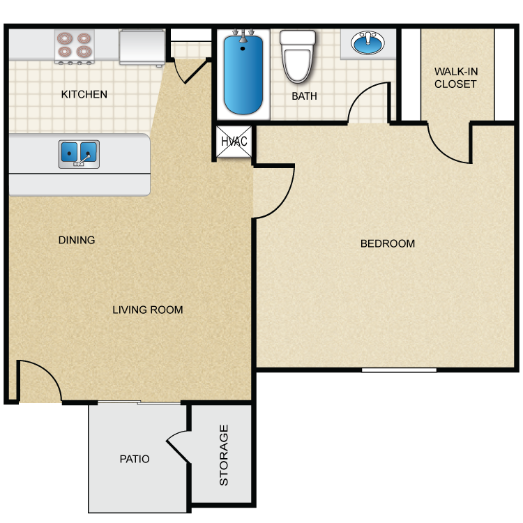 476 sq. ft. A floor plan