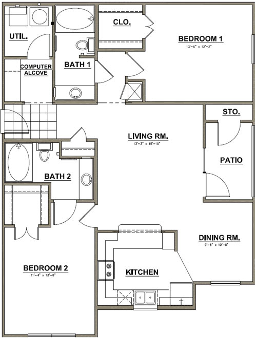 1,174 sq. ft. Royal Oak floor plan