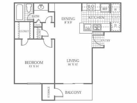 718 sq. ft. B floor plan