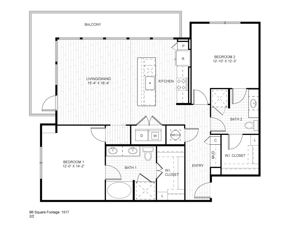 1,517 sq. ft. B6 floor plan