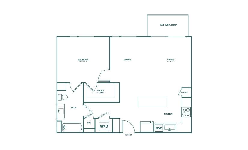 796 sq. ft. A5 floor plan