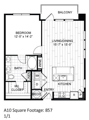 857 sq. ft. A10 floor plan
