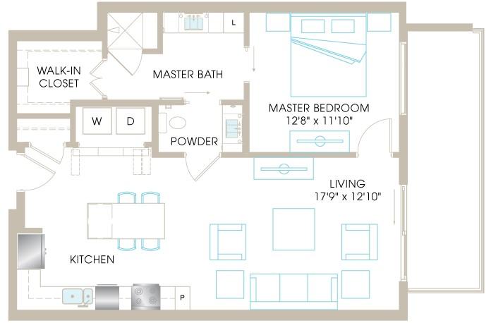 847 sq. ft. A4b floor plan