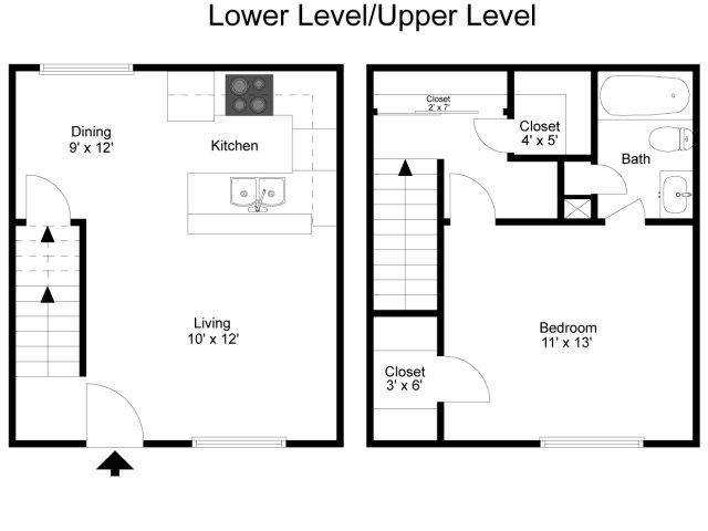 693 sq. ft. floor plan