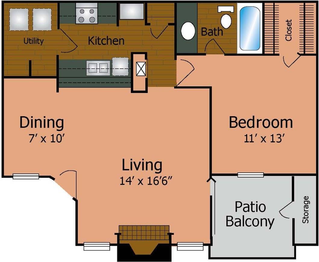 720 sq. ft. A2/Premier floor plan