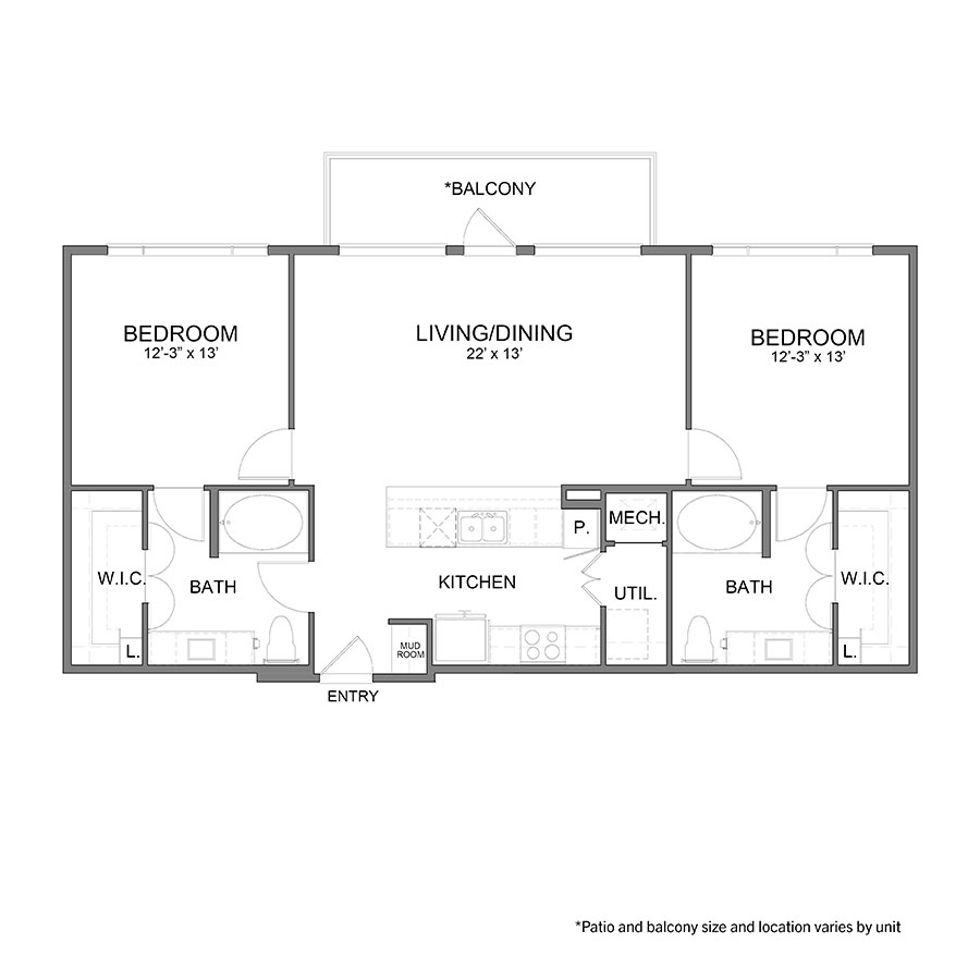 1,157 sq. ft. B1 floor plan