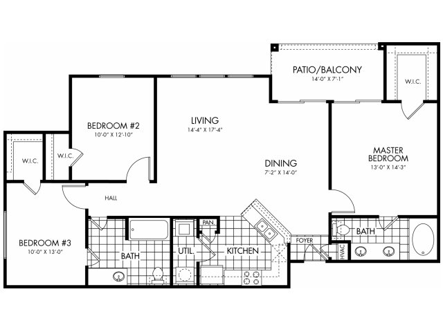 1,309 sq. ft. C1 floor plan