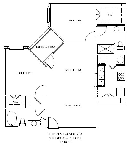 1,110 sq. ft. B2 floor plan